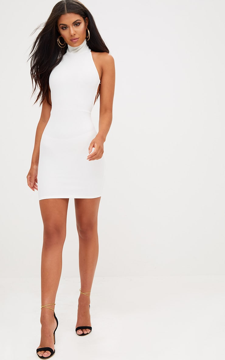 White Lace Up Back Extreme High Neck Detail Bodycon Dress 4