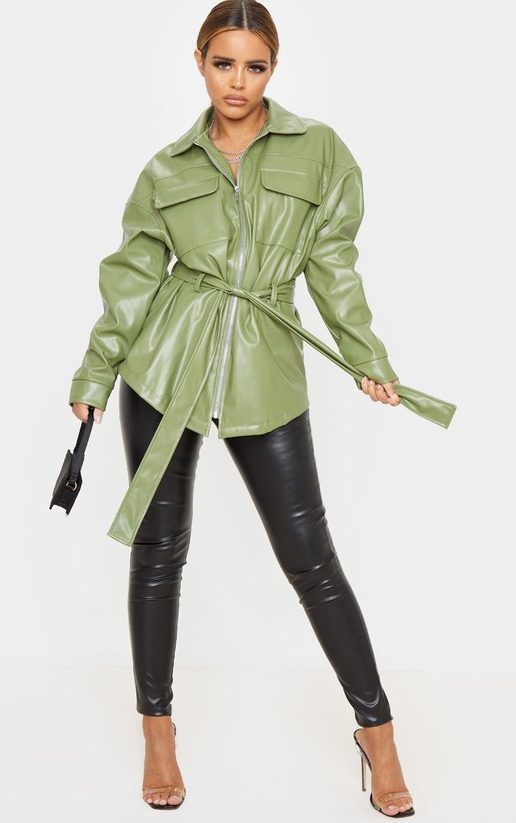 Petite Khaki Faux Leather Belt Detail Jacket 4