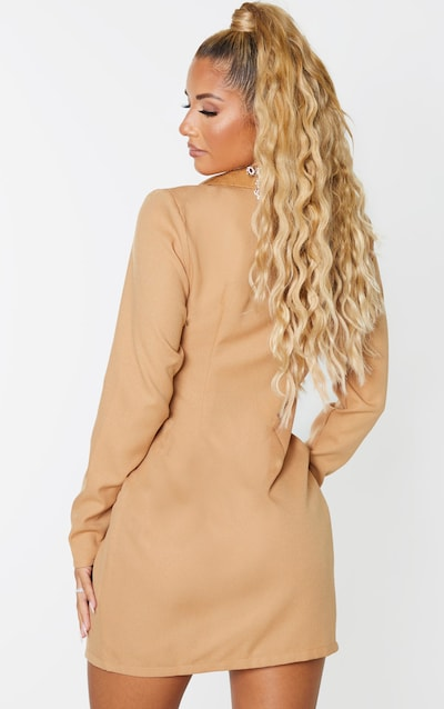 Camel Satin Lapel Belt Detail Blazer Dress