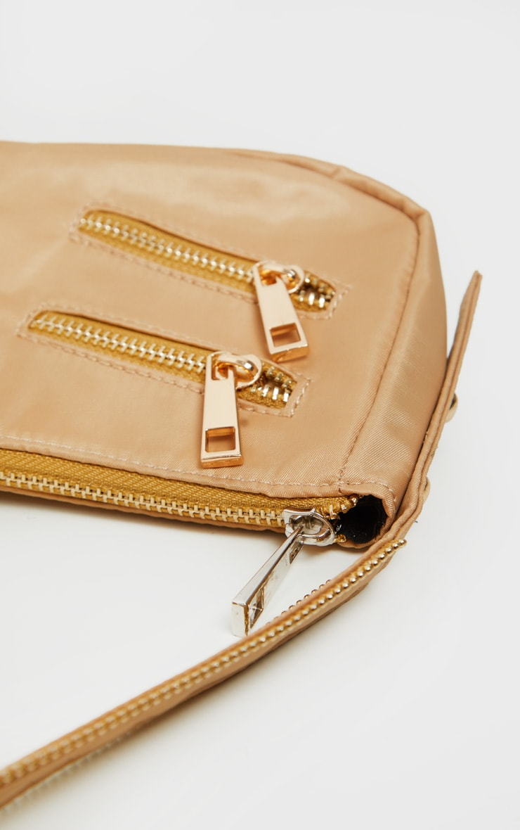 Camel Satin Front Zip Detail Shoulder Bag 4