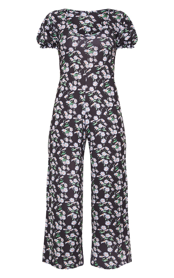 Black Daisy Print Short Puff Sleeve Culotte Jumpsuit 5