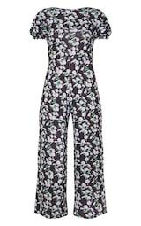 Black Daisy Print Short Puff Sleeve Culotte Jumpsuit 5