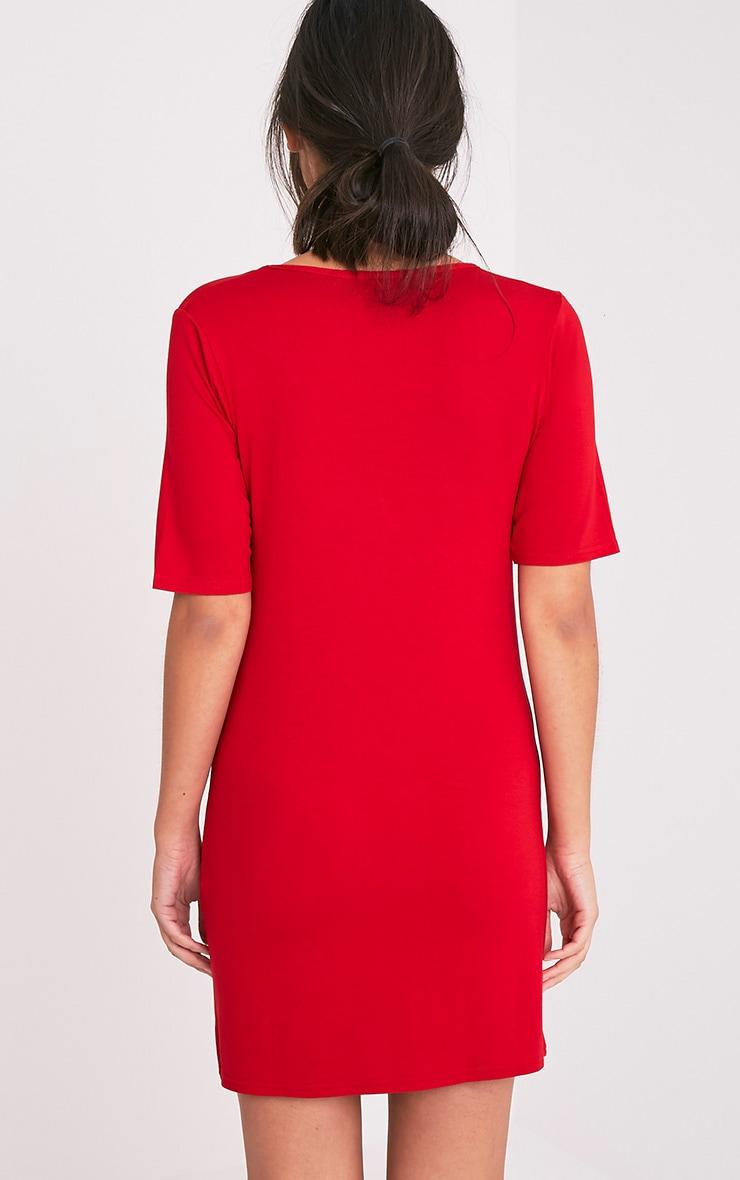 Basic Red Plunge V Neck T Shirt Dress 2