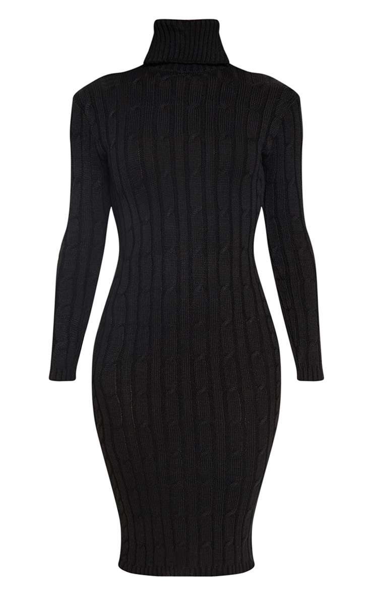 Black Cable Knitted Long Sleeve Dress 3