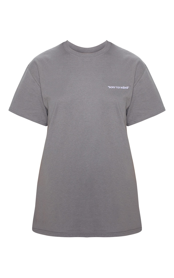 Charcoal Grey Be Yourself Embroidered Oversized T Shirt 3