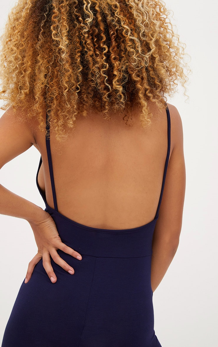 Navy Jersey Low Back Jumpsuit 5