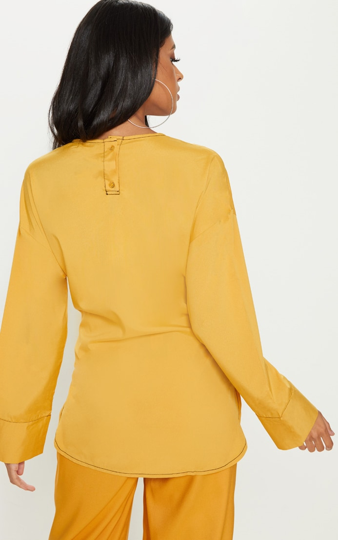 Mustard Woven Contrast Stitch Gathered Waist Shirt 2