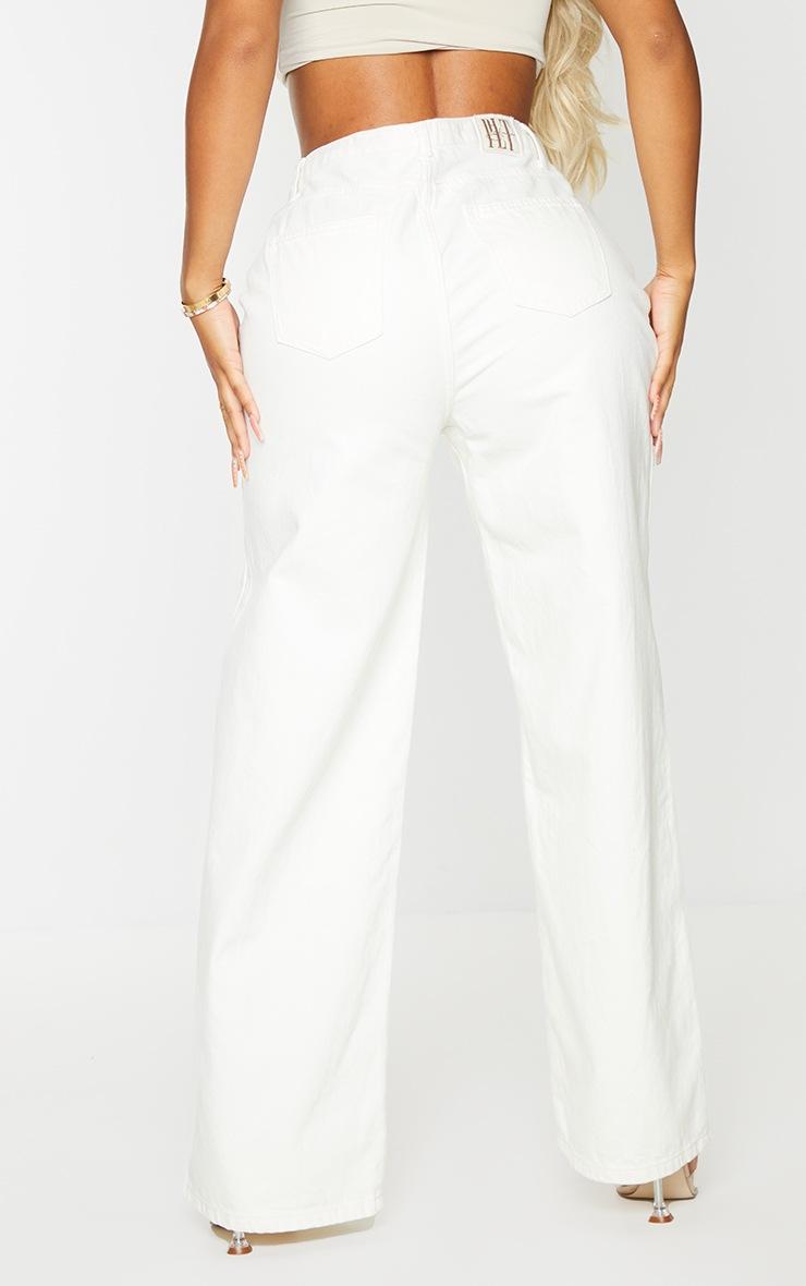 PRETTYLITTLETHING Shape Ecru Lace Up Side Wide Leg Jeans 3