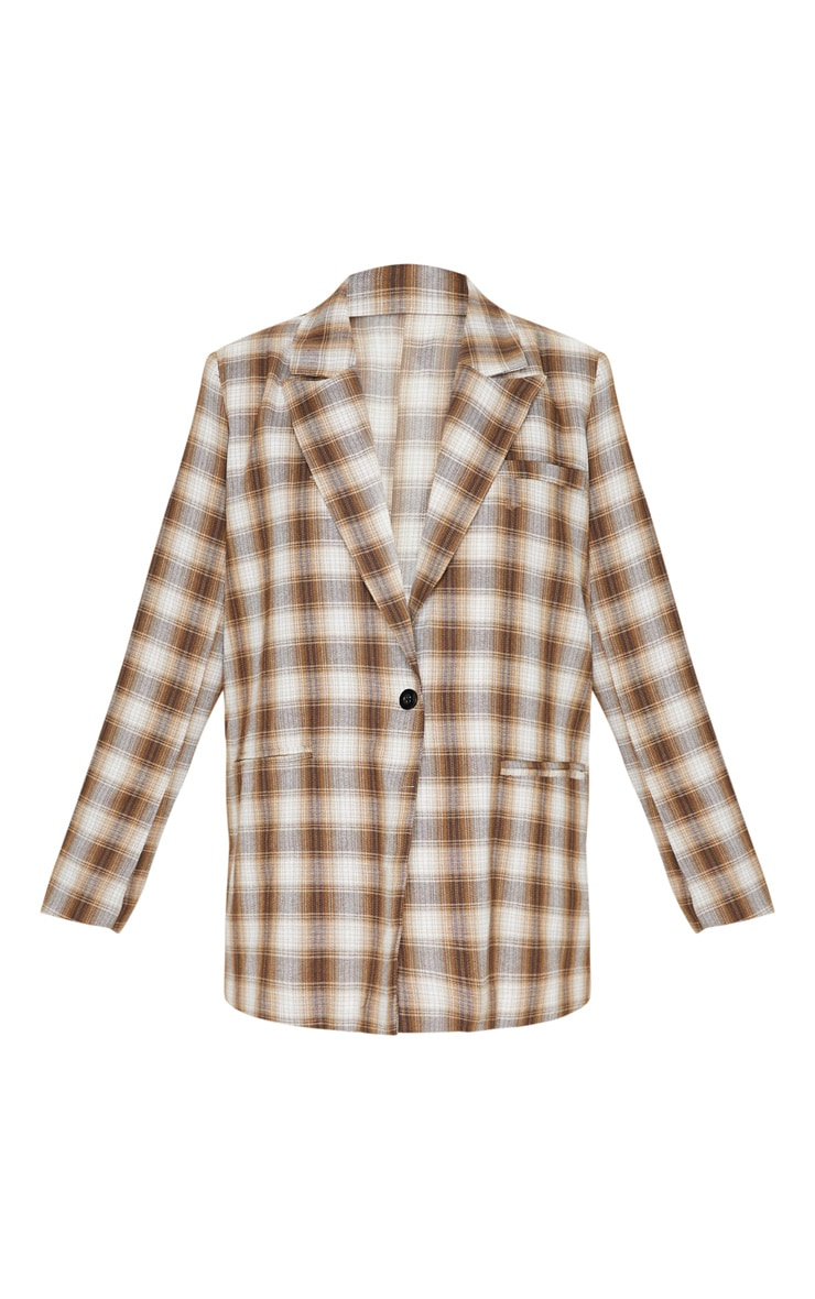 Brown Check Oversized Dad Woven Blazer 3