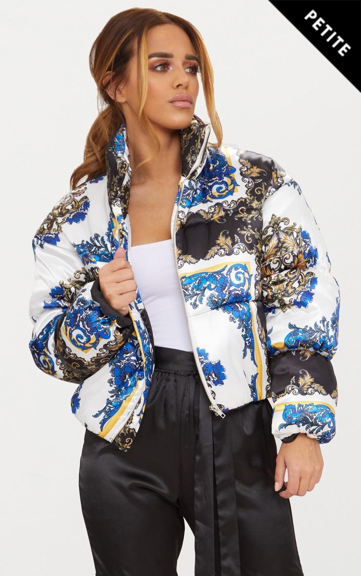 aaa14821d038 Petite Blue Satin Scarf Print Puffer Coat