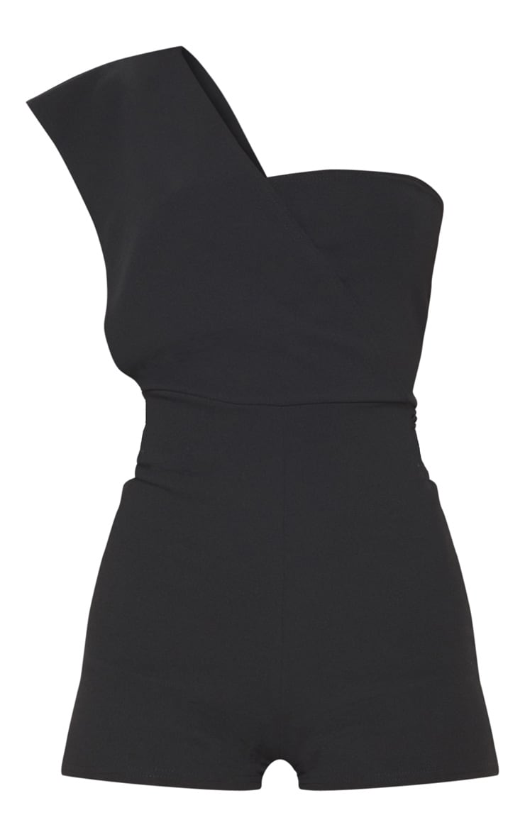 Black Drape One Shoulder Romper 3