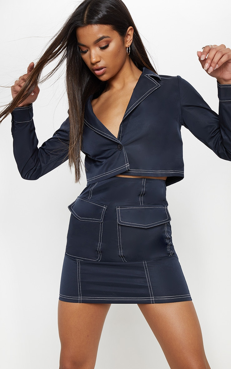 Navy Contrast Stitch Crop Jacket 1