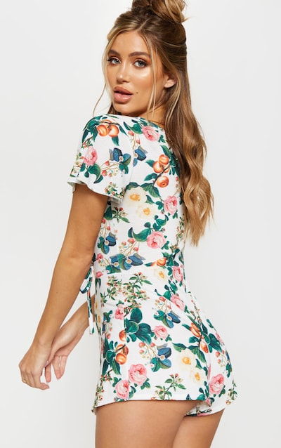 White Floral Print Short Sleeve Playsuit