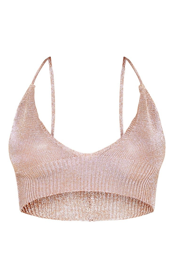 Natashie Sheer Bronze Metallic Knitted Bralet 3
