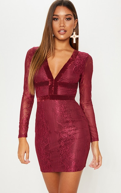 c71a8b45212 Burgundy Lace Velvet Trim Open Back Bodycon Dress