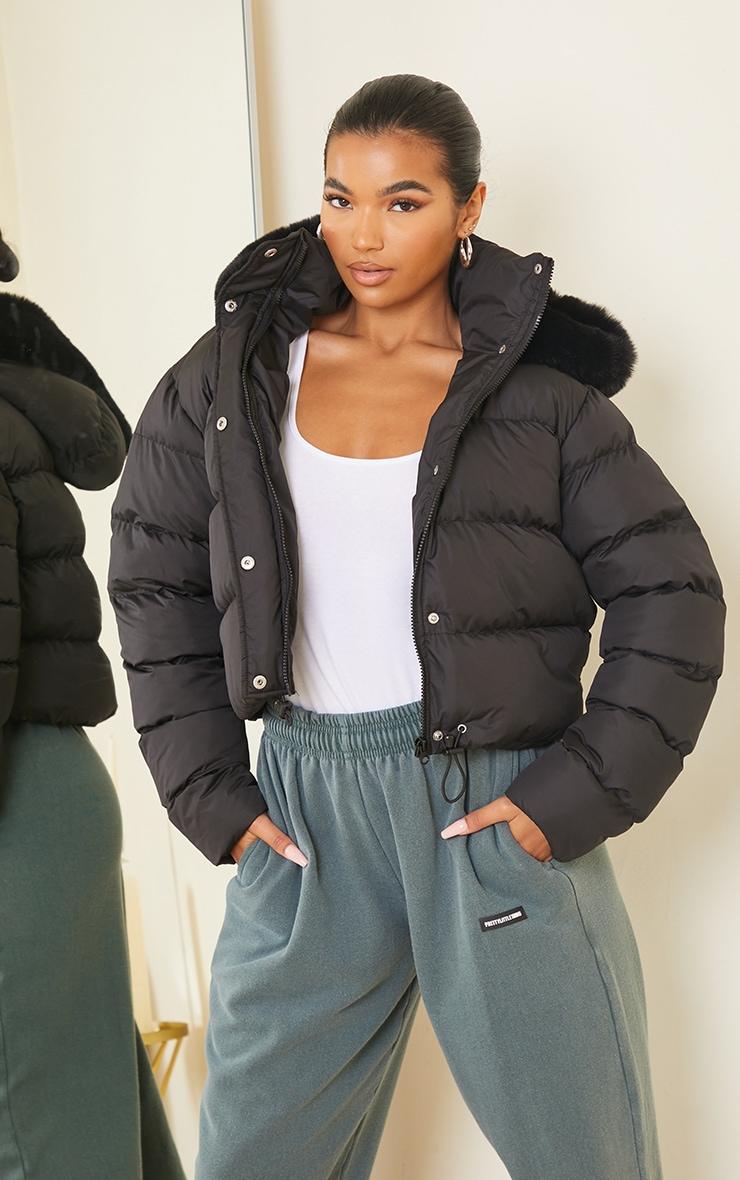 Black Faux Fur Hooded Puffer Coat 1