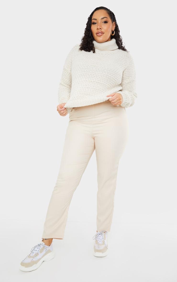 Plus Stone Fisherman Knit Roll Neck Sweater 1