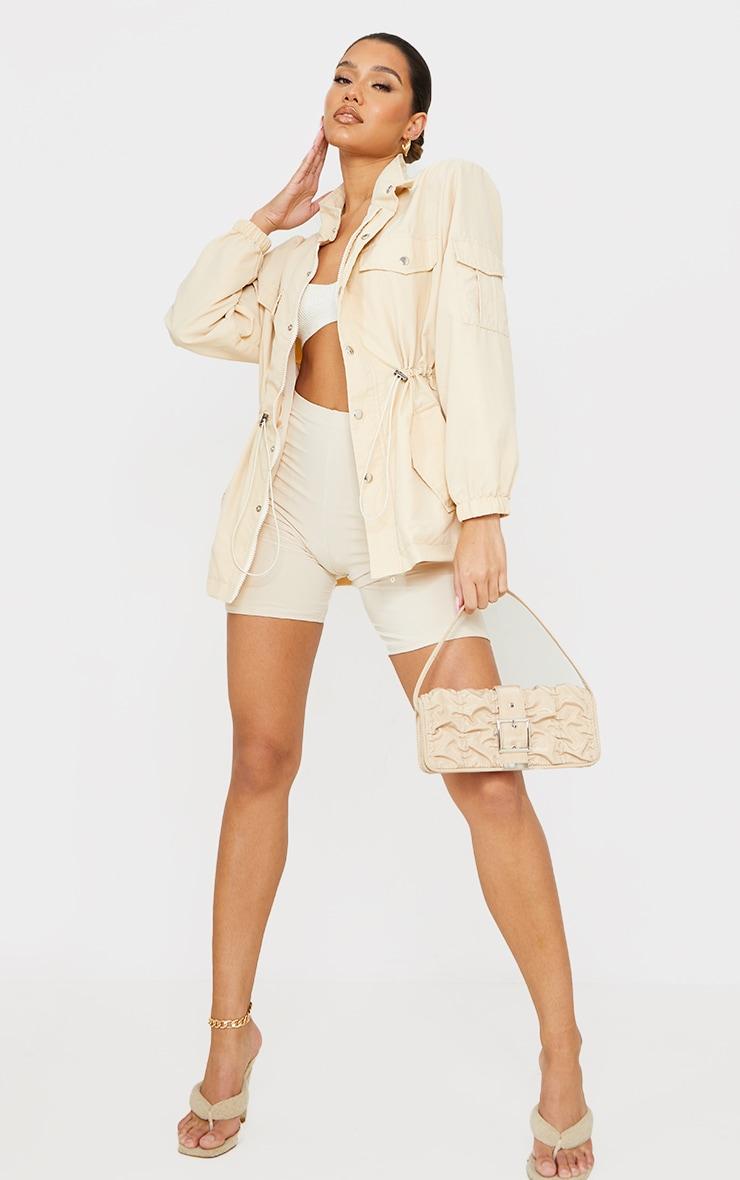 Stone Shoulder Padded Toggle Waist Jacket 3
