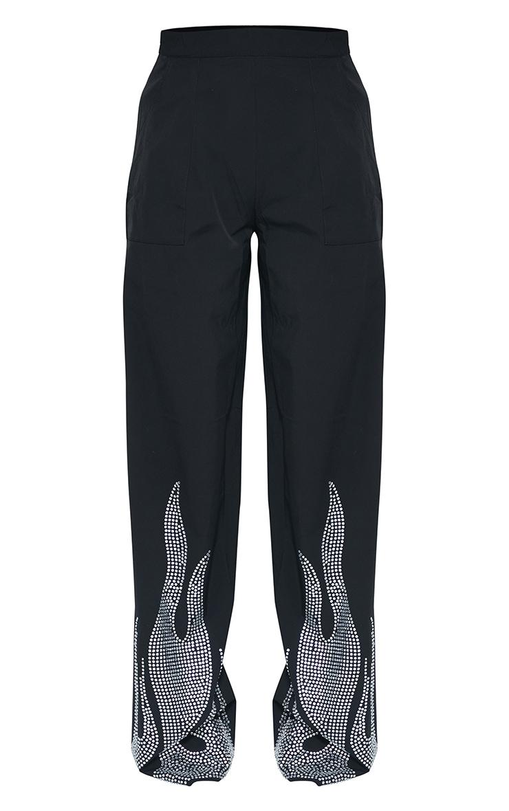 Plus Black Diamante Flame Flare Leg Trouser 4