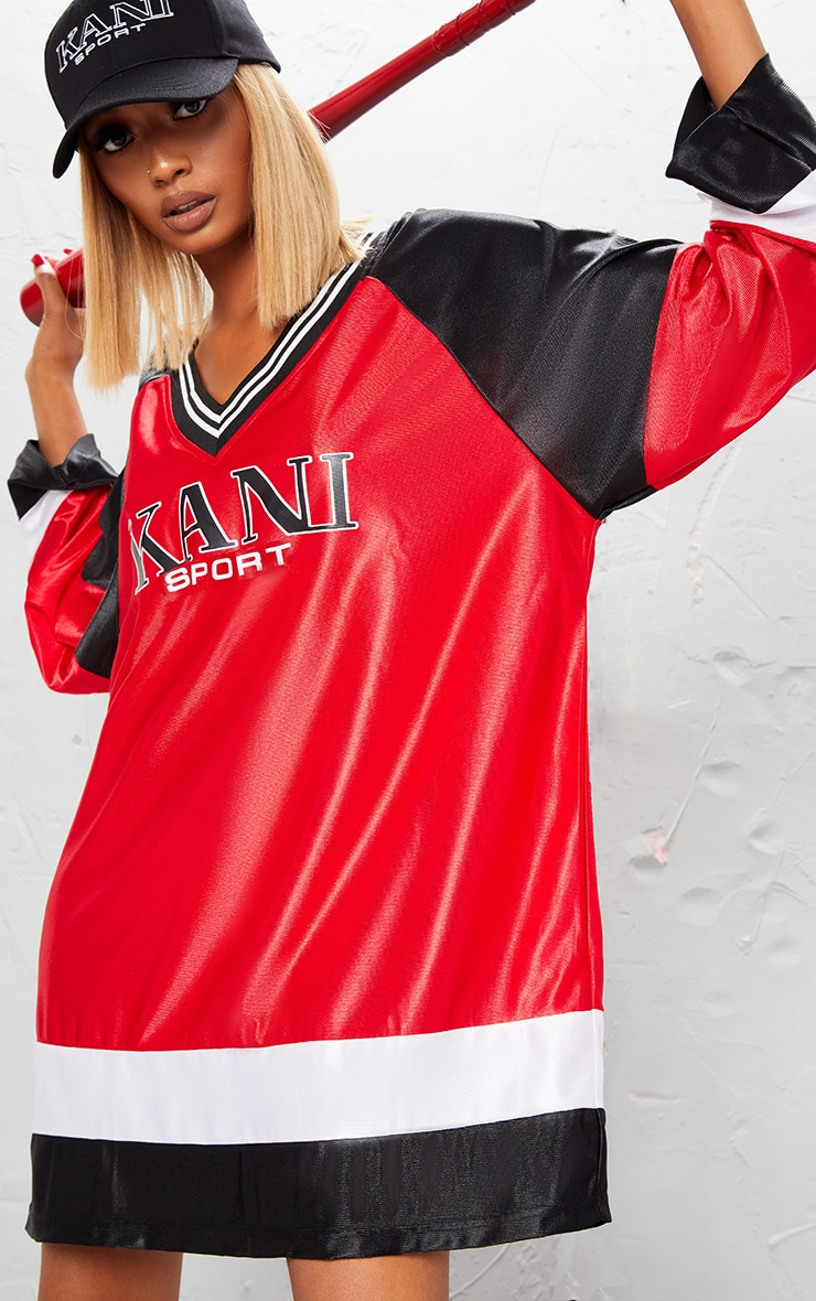 KARL KANI Red Printed Baseball Dress