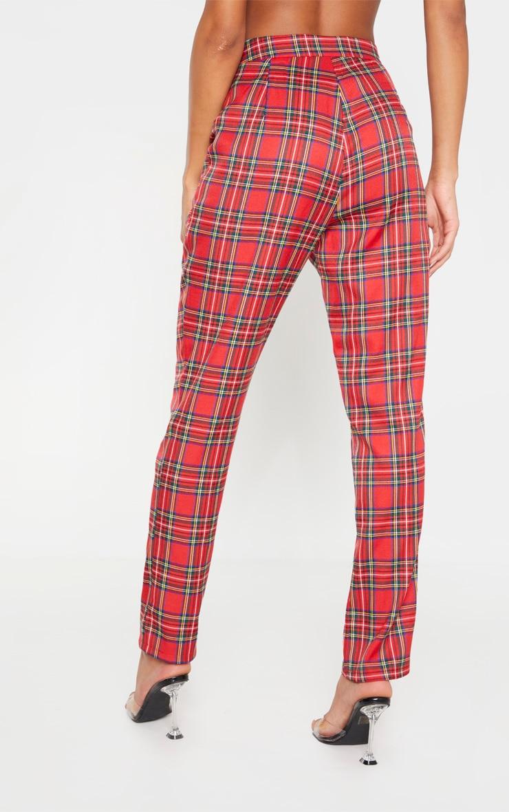 Pantalon cigarette rouge imprimé tartan taille haute à détail ceinture boucle 3
