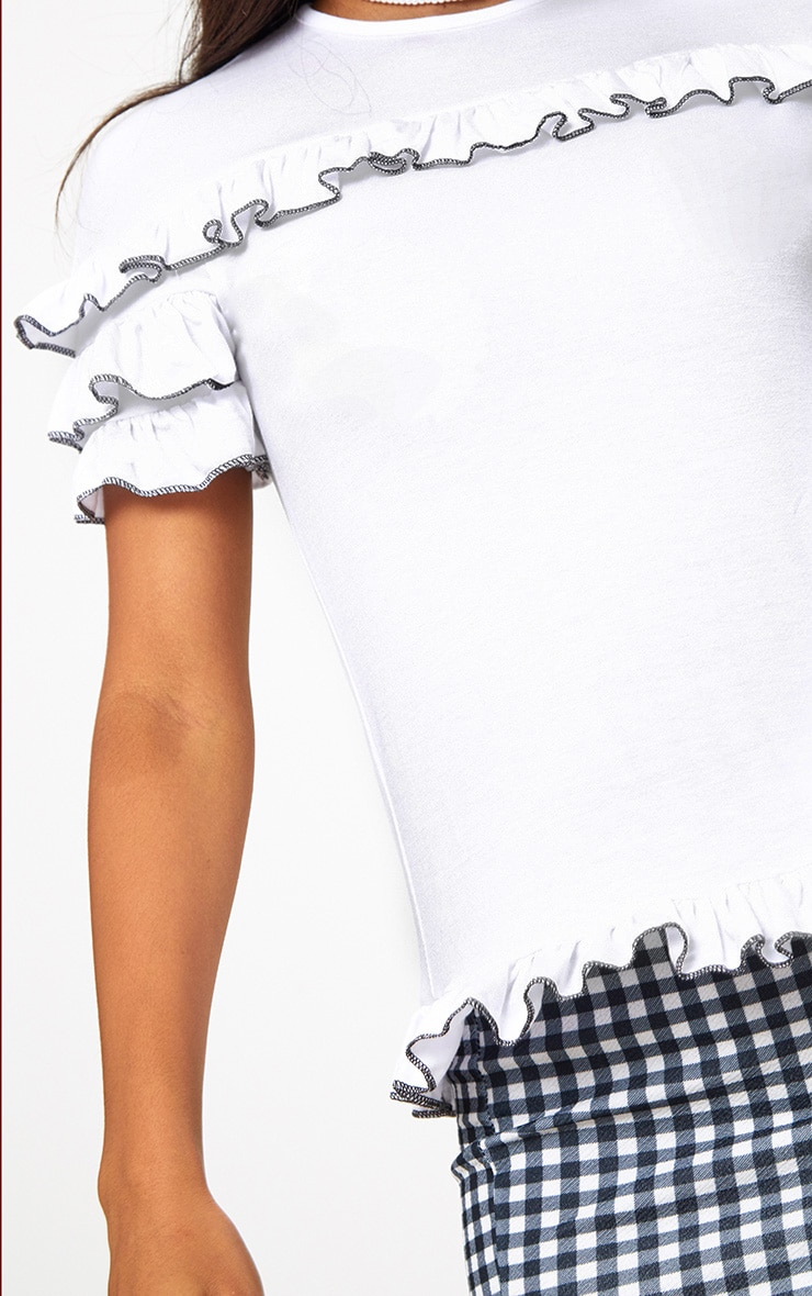 White Frill Contrast Edge T Shirt 5