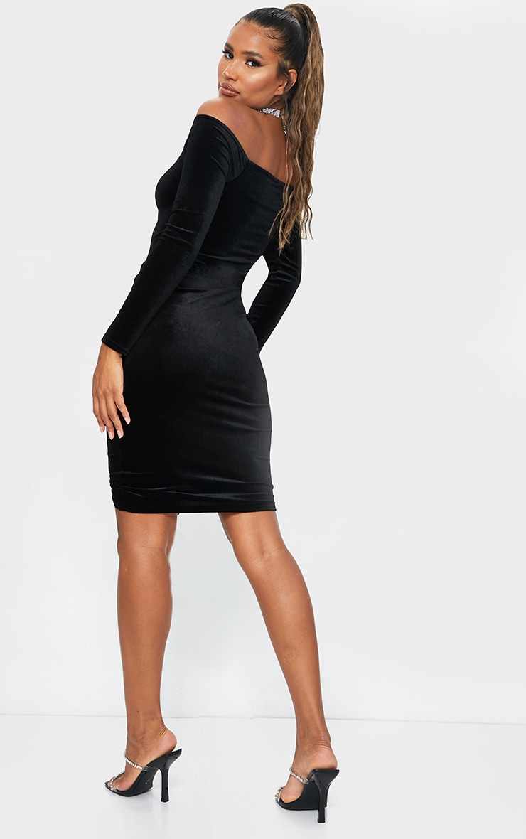 Black Velvet Bardot Ruched Midi Dress 2