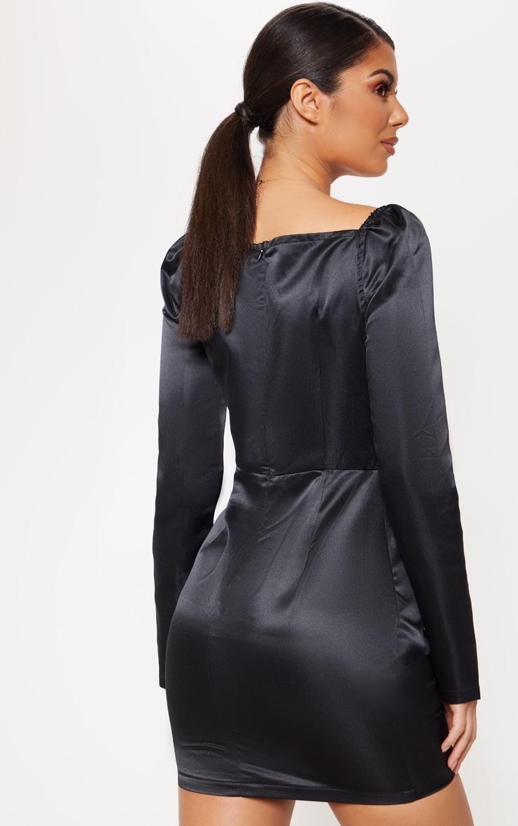 Black Satin V Bar Drape Bodycon Dress 2