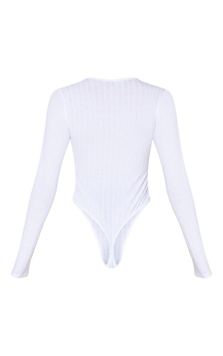 White Jersey Rib Square Neck Long Sleeve Bodysuit 6