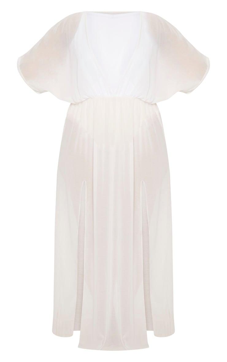 Plus White Chiffon Plunge Sheer Maxi Dress 3