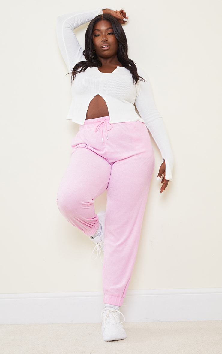 Plus Pink Towelling Joggers 1
