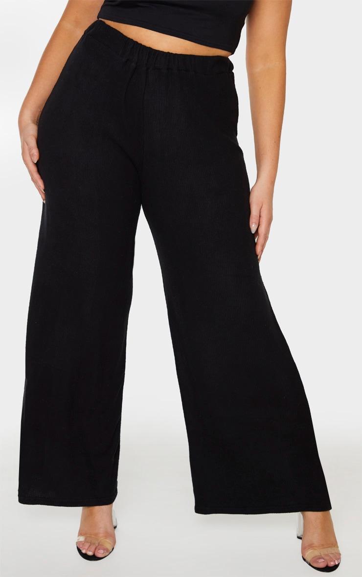 Plus Black Brushed Rib Wide Leg Trouser 2