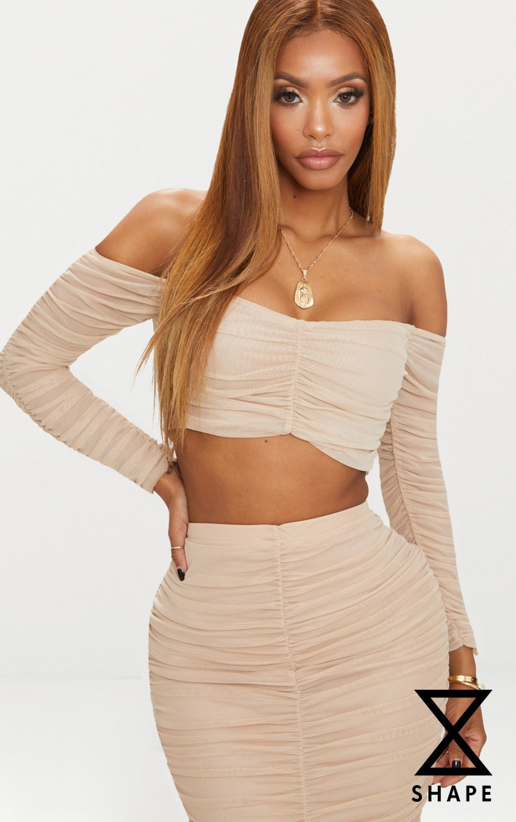 Shape Nude Mesh Ruched Bardot Crop Top 1