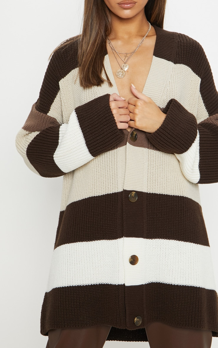 Stone Striped Knitted Cardigan  5