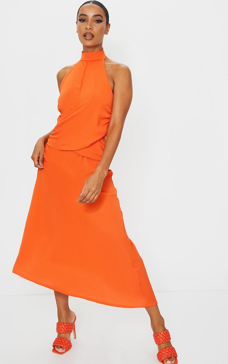 Tangerine Halterneck Wrap Front Maxi Dress 1