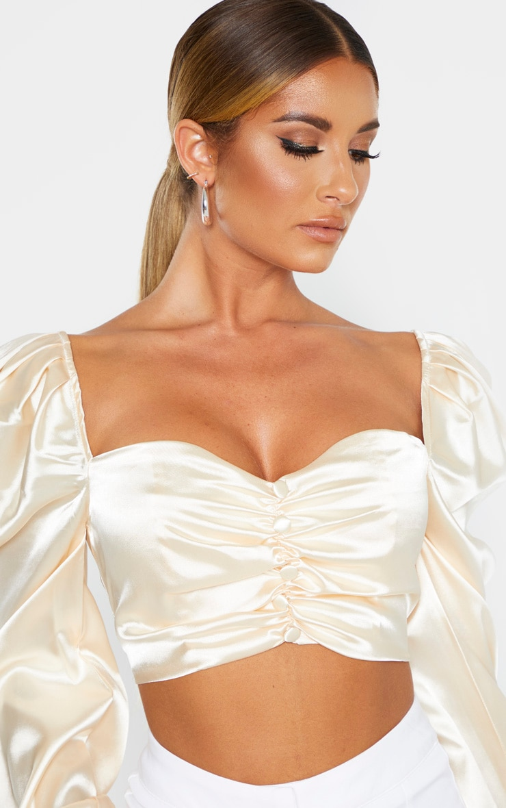 Nude Satin Button Front Square Neck Crop Top 5