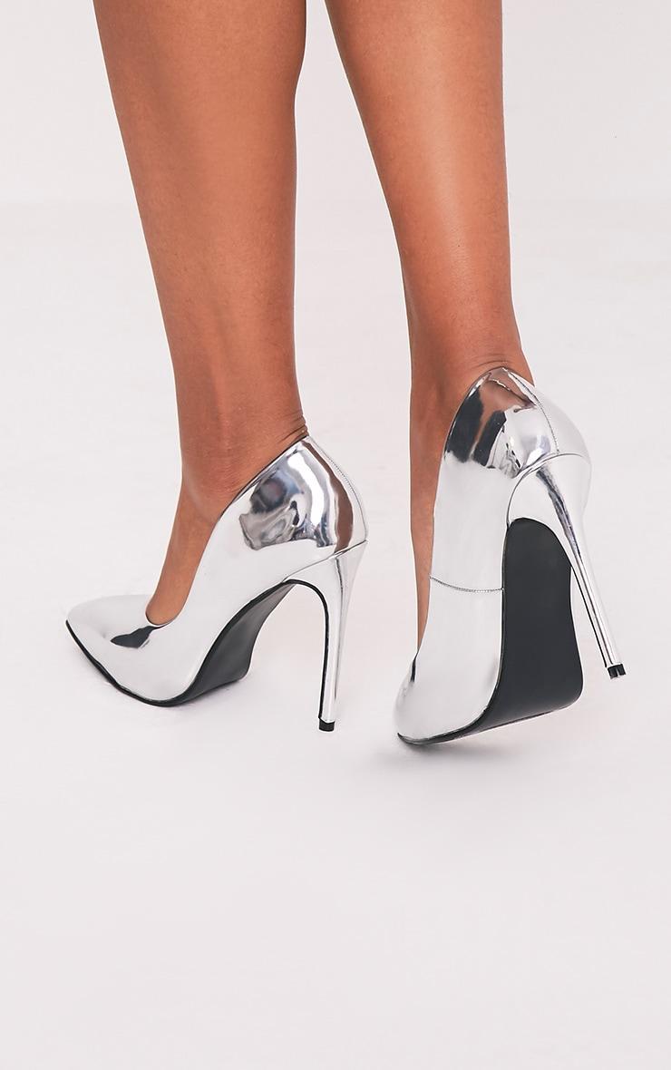 Deena Silver Metallic Patent Court Shoes 3