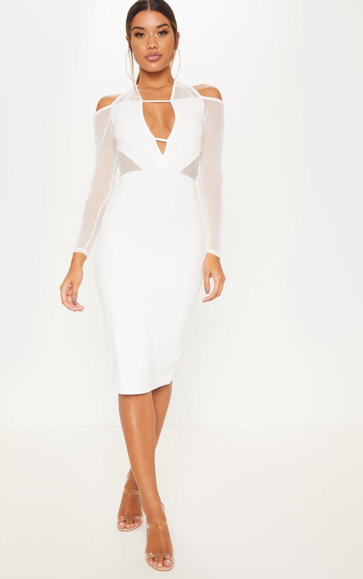 1789d24cd2e White Plunge Halterneck Cut Out Mesh Panel Midi Dress image 1