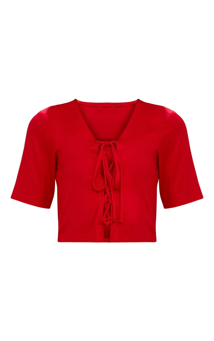 Red Lace Up Front Cropped T Shirt 3