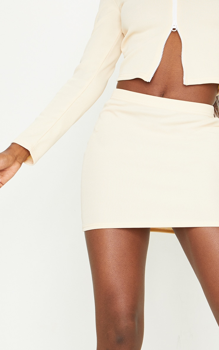 Tall Stone Structured Ribbed Mini Skirt 5