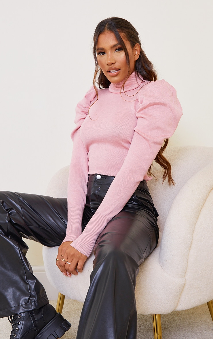 Pink Roll Neck Puff Shoulder Sweater 1