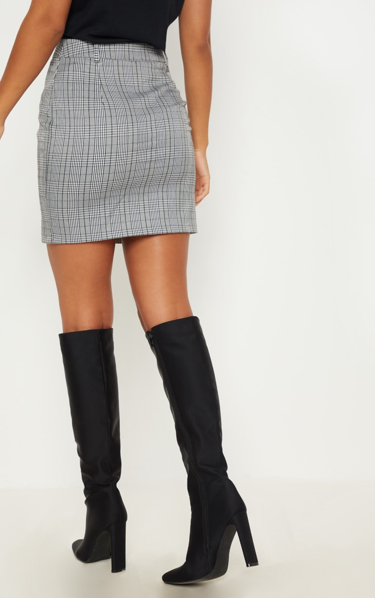 Monochrome Zip Front Check Mini Skirt 4