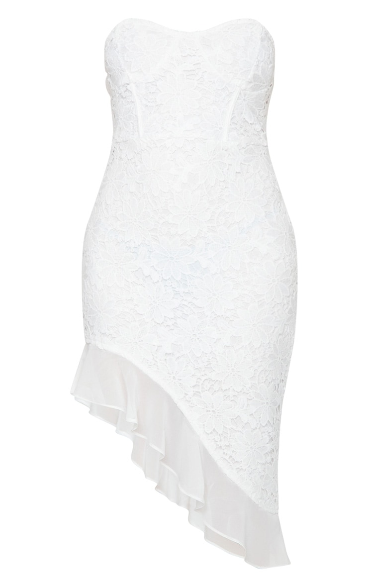 White Lace Bandeau Chiffon Frill Bodycon Dress 5