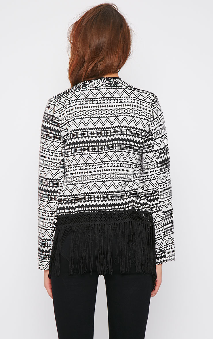 Madeleine Monochrome tapestry jacket with fringe detail 1