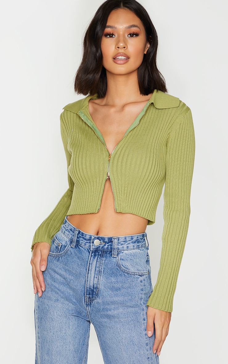 Olive Double Zipped Knitted Crop Top 1