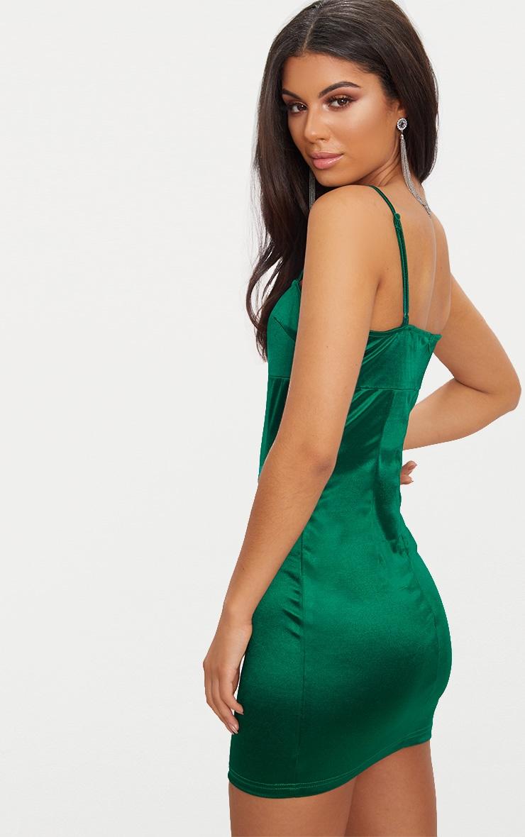 Emerald Green Straight Neck Strappy Satin Bodycon Dress  2