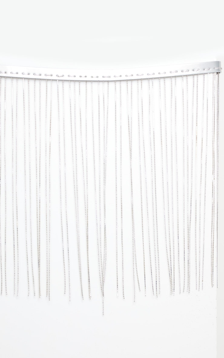 Silver Diamante Tassle Waist Belt 2