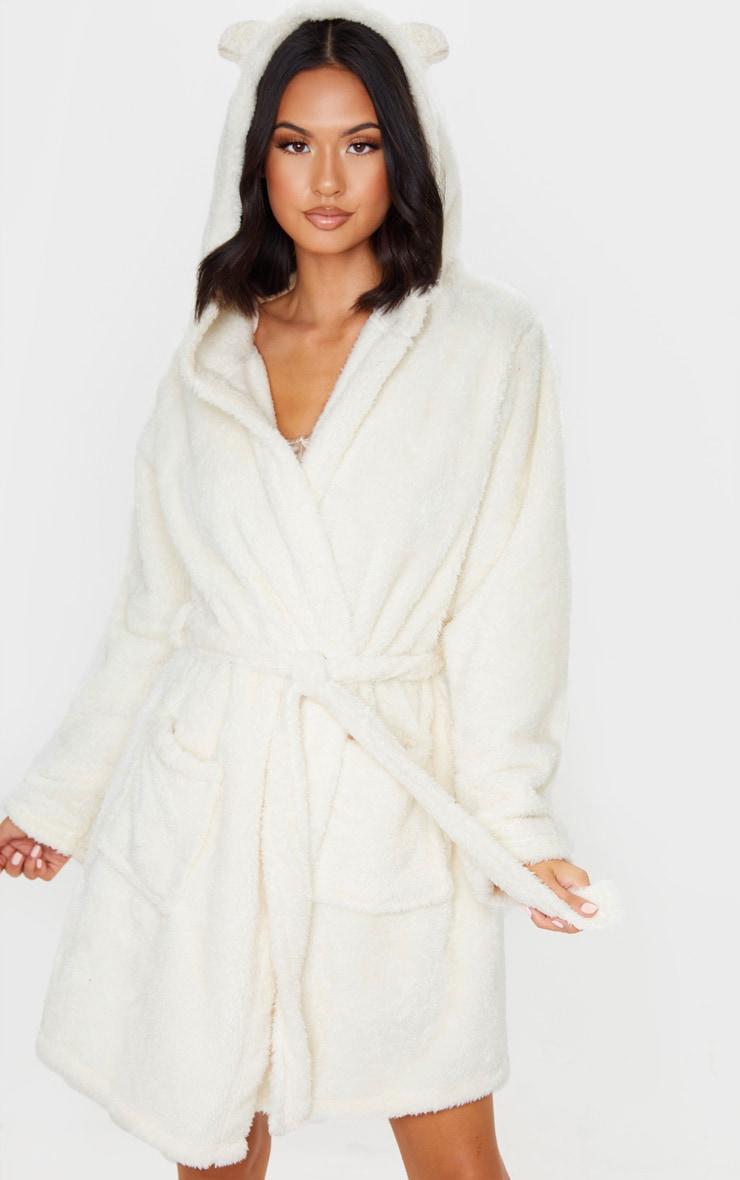 White Fluffy Teddy Ear Dressing Gown Prettylittlething
