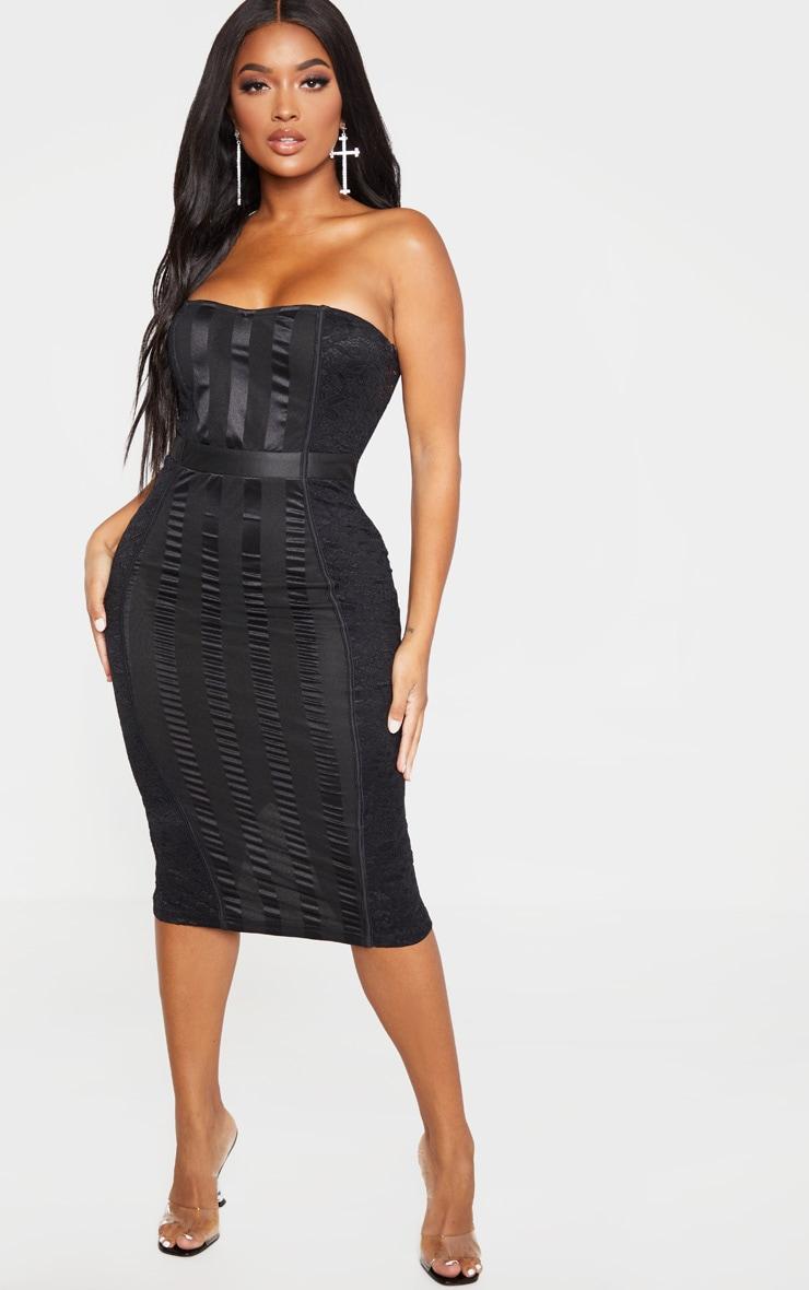 Shape Black Lace Mesh Stripe Bandeau Midi Dress 1