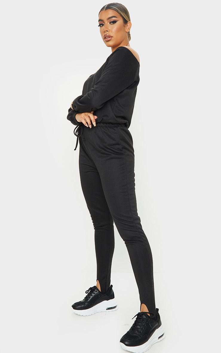 Black Sweat Bardot Stirrup Jumpsuit 3